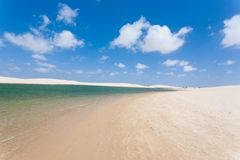 White sand dunes panorama from Lencois Maranhenses National Park. Brazil. Rainwater lagoon. Brazilian landscape Royalty Free Stock Photography