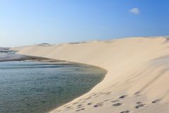 White sand dunes panorama from Lencois Maranhenses National Park. Brazil. Rainwater lagoon. Brazilian landscape Royalty Free Stock Photo