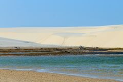 White sand dunes panorama from Lencois Maranhenses National Park. Brazil. Rainwater lagoon. Brazilian landscape Royalty Free Stock Images