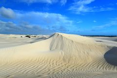 White sand dunes of Sand dunes at Nilgen Nature Reserve. In Western Australia royalty free stock photography