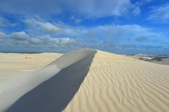 White sand dunes of Sand dunes at Nilgen Nature Reserve. In Western Australia stock photography