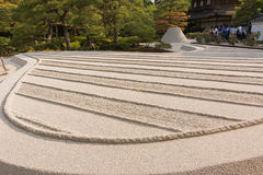With white sand of Karesansui in Japanese garden of Ginkakuji Te Royalty Free Stock Photo