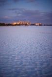 White sand at Lido beach at dusk. Beautiful view of Lido Key beach and condos at dusk Royalty Free Stock Photo