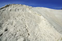 White sand mound quarry like moon landscape Stock Photo