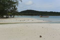 White sand beach in Koh Rong island in Cambodia stock photos