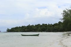 White sand beach in Koh Rong island in Cambodia royalty free stock photography