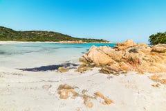 White sand and rocks in Spiaggia del Principe. Costa Smeralda Royalty Free Stock Photography