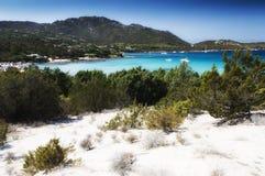 White sand Sardinia pevero bay. Sardinia italy landscape pevero beach esmerald cost Stock Photos