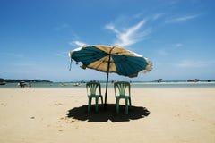 White sand sea beach blue sky vacation Stock Image