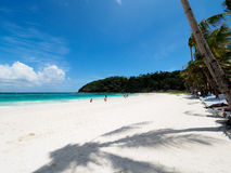 White sand tropical beach and blue sky Stock Photography