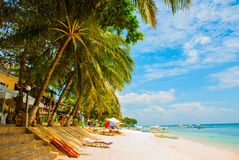 The white sand tropical beach of Panglao Island, Bohol. Philippines Royalty Free Stock Image