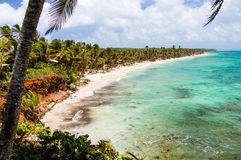 White sand & turquoise waters in Nicaragua. White sandy beach & turquoise waters on Little Corn Island, Nicaragua Stock Photography