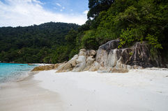 White sand Turtle beach at Pulau Perhentian, Malaysia. Royalty Free Stock Photo
