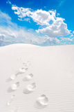 White Sands and footprints Stock Photo