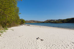 White Sands of Morar beautiful Scottish sandy beach West coast of Scotland uk on the coastline from Arisaig to Morar. Silver Sands of Morar beautiful Scotland UK Royalty Free Stock Image