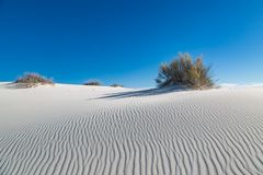White Sands National Monument, New Mexico. Contrasting blue sky and white gypsum sand, at White Sands National Monument in New Mexico stock photos