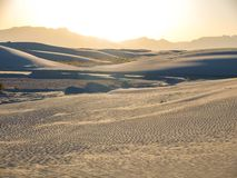 White Sands National Monument in New Mexico. White Sands National Monument is located in southern New Mexico. Wave-like ripples of glistening gypsum sand creates stock images