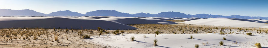 White Sands National Monument Panorama. Late afternoon at White Sands National Monument in White Sands, New Mexico, United States of America Royalty Free Stock Image