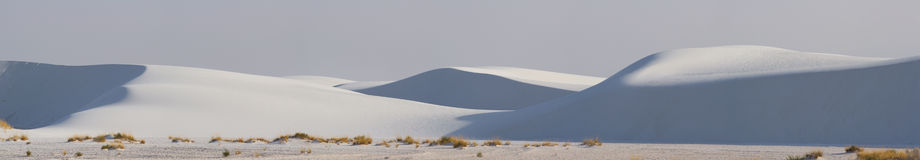 White Sands Panorama. Sand dunes along the Alkali Flat Trail in the White Sands National Monument - New Mexico, USA royalty free stock image