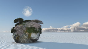 White Sands with Rock Island Royalty Free Stock Photography