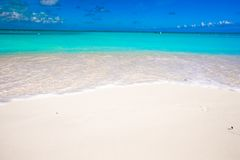 White sandy beach with turquoise water at perfect Royalty Free Stock Images