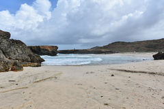 White Sandy Deserted Beach on the East Coast of Aruba Royalty Free Stock Images