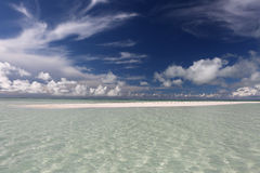 White sandy flat in lagoon. Stock Photos