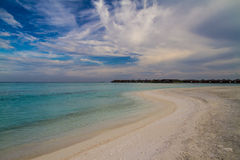 White sandy tropical beach in Maldives Royalty Free Stock Images