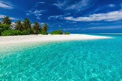 White sandy tropical beach with palm trees and blue lagoon Stock Photography