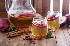 White sangria with apple cider Stock Photo