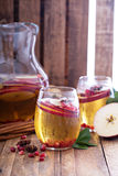 White sangria with apple cider Stock Photos