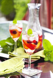 White sangria with fruits and berries Royalty Free Stock Image
