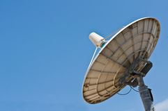 White satellite dish with blue sky Stock Image
