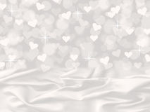 White satin and heart bokeh valentine's day card background with sparkles royalty free illustration
