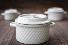 White Saucepans Royalty Free Stock Images