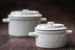 White Saucepans Stock Images