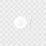 White saucer with a coffee spoon. Little plate vector. Table setting. Royalty Free Stock Images