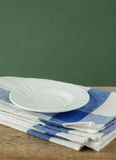 White saucer and dishcloth Stock Photo