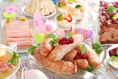 White sausage with beetroot sauce for easter Stock Photography