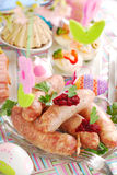 White sausage with beetroot sauce for easter Royalty Free Stock Images