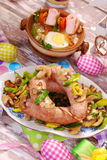 White sausage with mushrooms and leek for easter Royalty Free Stock Image
