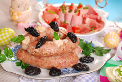 White sausage with prunes for easter Royalty Free Stock Image