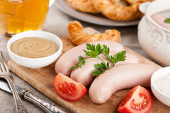 White sausages, beer and pretzel Stock Photography
