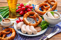 White sausages with sweet mustard and pretzel Royalty Free Stock Image