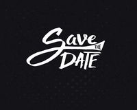 White Save the Date Texts on Abstract Black Royalty Free Stock Photo