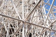 White scaffolding. Construction site with a complex white scaffolding Stock Images