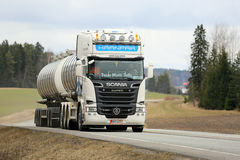 White Scania R620 Tank Truck on the road Royalty Free Stock Photo