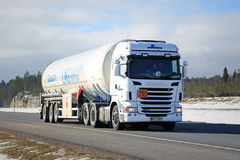 White Scania Semi in ADR Transport Stock Image