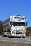 White Scania Semi Tank Truck on Road stock images