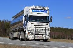 White Scania Semi Tank Truck on Road royalty free stock photos